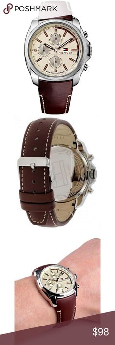 Tommy Hilfiger Brown Leather Date Mens Watch 100% Authentic Tommy Hilfiger!  Buy with confidence!  • MSRP: $175.00 • Style: 1791079  Features: • Brand: Tommy Hilfiger  • Dial color: Champagne, brown metallic hour markers, minute indicator on outer dial, brown hands, black second hand • Features: Sub-dials for day of the week, date and 24 hours, Tachymeter ruler surrounding dial • Case: Stainless steel • Band: Brown genuine leather • Clasp: Stainless steel buckle • Water Resistant: 50 meter…