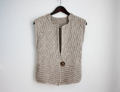 Knit vest Womens knit jacket Grey with a wood от YourSweater
