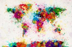 World Map Paint Drop Poster Poster Großformat - Close Up GmbH