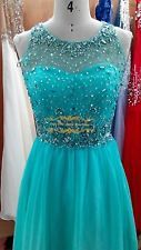 Blue Beaded Prom/Party/Evening/Bridesmaid Dress Pageant Ball Gown SZ 2-14