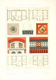 Architecture print,antique lithograph of ornaments of Villa Weber, by Pierre Chabat in our architecture prints catalogue