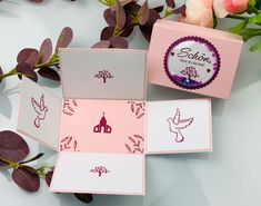 Container, Pink, Communion, Thanks Card, Book Folding, Guest Gifts, Invitation Cards, Stamps