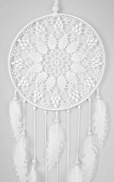 White Dream Catcher Large Dreamcatcher Crochet by DreamcatchersUA