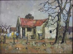 ,Conrad Theys Watercolor Landscape, Watercolor And Ink, Abstract Landscape, Landscape Paintings, Oil Paintings, Landscapes, Building Painting, Building Art, South Africa Art