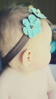 Three Teal Flower Headband on Brown Satin by LoveysFavoriteThings, $12.00
