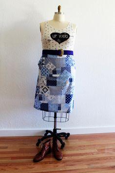 Plus Size  Vintage Blue Faux Quilted A-Line Skirt Size 14