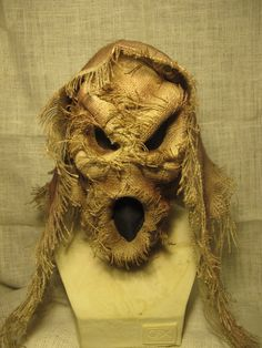 Handmade Burlap Ghost Scarecrow Latex Halloween Mask by rigator, $80.00