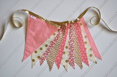 Coral Pink, Cream, and Gold Fabric Pennant Banner, Bunting, Party Decoration
