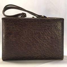 Vintage Handbag Briefcase 1950s 60s Murray Kruger Brown Faux Ostrich Leather ... #MurrayKruger #Handbag