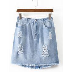 SheIn(sheinside) Blue Pockets Zipper Ripped Raw-edge Hem Skirt (89 SEK) ❤ liked on Polyvore featuring skirts, blue, a line denim skirt, blue a line skirt, blue skirt, zip skirt and ripped skirt