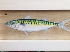 Hand painted mackerel fish on reclaimed driftwood by www.thedirftwoodartist.com