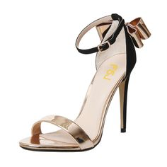 #FSJshoes - #FSJ Shoes Women's Rose Golden Bow Stiletto Heel Ankle Strap Sandals - AdoreWe.com