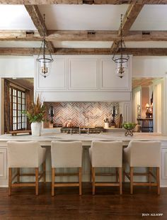 Gorgeous ...Open #kitchen with brick and rustic beams. #design | KITCHENS I LOVE  | Bricks, Beams and Open Kitchens