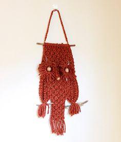 Macrame Owl Rust Orange Yarn Handmade Vintage от VTerraVintage