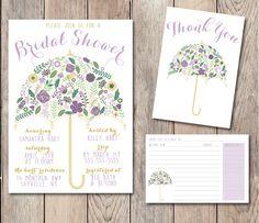 Bridal Shower Pack, INSTANT DOWNLOAD, Umbrella Bridal Shower Invitation, Recipe Card, Printable Bridal Shower Invitation, Thank You Card