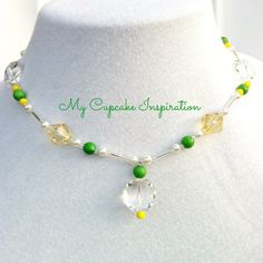 Daisy Inspired Beaded Necklace, Handmade, Fairy Party, Tinkerbell inspired necklace, Costume Jewelry, Little Girl Dress Up Necklaces, Toddler Jewelry, Green Yellow Clear Beads