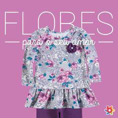 Para alegrar e colorir o inverno das meninas, estampas floridas em conjuntos e vestidos <3 #fashionkids #inverno2014brandili