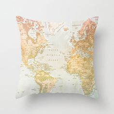World Map Pillow, Pastel Pillow, Map, World artwork, Pastel Color, Pastel Art, World, World Art, World Pillow, Home Decor