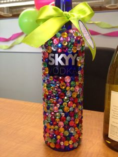 A cute birthday gift! Bedazzled Vodka Bottle (or any liquor bottle) Bedazzled Bottle, Bling Bottles, Liquor Bottles, Vodka Bottle, 21st Birthday Presents, Cute Birthday Gift, Cork Crafts, Diy Arts And Crafts, Alcohol Bottle Decorations