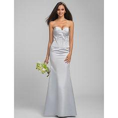 Trumpet/Mermaid Sweetheart Floor-length Satin Bridesmaid Dress (605500) – USD $ 129.99