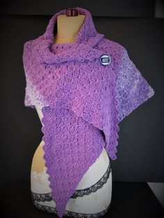 """Purple Heather Stole ~ Large Triangle Wrap ~ Cotton Blend Super Soft, Brand New Handmade Crochet,Hand Knitted Shawl, Large Scarf  Brand new handmade item  - Colors: Purple and heathered purple - Material: Super soft cotton blend yarn - Nice weight that you don't get from acrylic yarn - Large triangle shaped wrap can be worn many ways - Measurements: Corner to corner at widest point: 6 ft. (72""""); length from flat top to tip (bottom): 42"""" long…"""