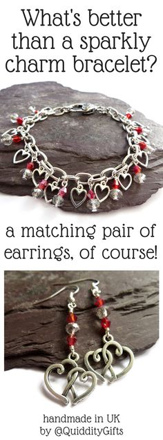 I love a matching set of jewelry - dangle earrings are the perfect match to this heart charm bracelet with crystal beads!