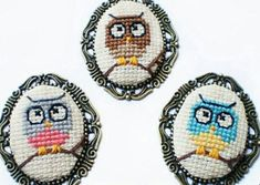 . ♥️ ☺️ owl cross stitch necklace