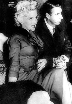"""""""Marilyn Monroe and Joe DiMaggio at a press conference in Japan, 1954. """""""
