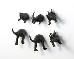 6 piece Dinosaur Magnet Set  Jet Black by OriginalAnimalMagnet