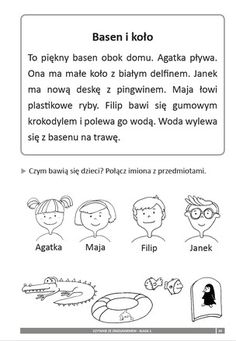 Image result for ćwiczenia na czytanie ze zrozumieniem Abc Centers, Polish Language, Exercise For Kids, Kids Education, Speech Therapy, Hand Lettering, Activities For Kids, Asd, Classroom