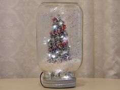 Light Up Mason Jar Quart Size Dry Snow Globe With by Auntiquarian Christmas Jars, Primitive Crafts, Primitives, Light Up, Snow Globes, Mason Jars, Unique Jewelry, Handmade Gifts, Awesome