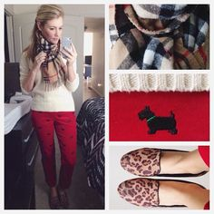 White turtleneck, Burberry scarf, colored jeans and leopard flats karla reed's instagram