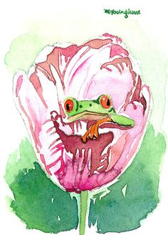 ACEO Original  Little frog out of a tulip in by annalee377 on Etsy