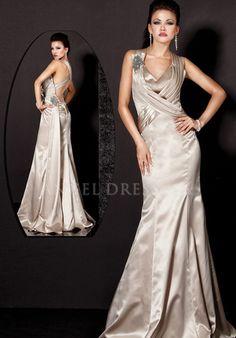 V Neck Fit N Flare Satin Natural Waist Sleeveless Floor Length Evening Dress