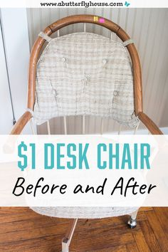 Check out this thrift store desk chair before and after! A bit of fabric and spray paint went along way in this furniture flip! #FurnitureFlip #ThriftStoreFurniture Diy Furniture Flip, Thrift Store Furniture, Dream Furniture, Furniture Projects, Furniture Makeover, Dining Chair Set, Desk Chair, House Projects, Garden Projects