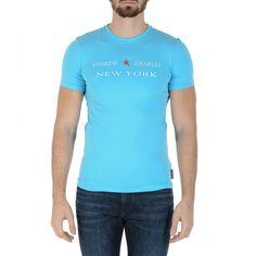 Andrew Charles Mens T-Shirt Short Sleeves Round Neck Light Blue E Keita Mens Sleeve, Logo Sign, Fit, Light Blue, Short Sleeves, Mens Tops, Clothes, Composition, Products