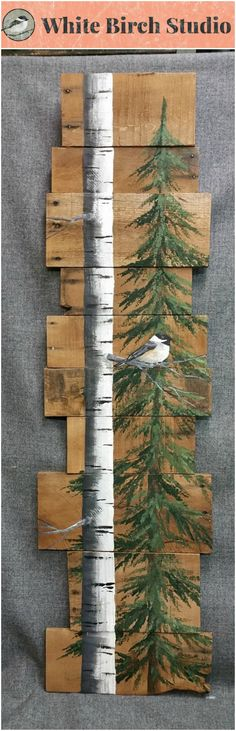 "White Birch & Pine tree Reclaimed Wood Pallet Art, TALL Hand painted White Birch Chickadee bird, upcycled, Wall art, Distressed  Original Acrylic painting on reclaimed Pallet boards. This unique piece is 46"" tall x 9-12"" wide  Perfect for that skinny wall space."