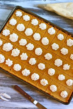 If you're hosting a big fall get together, this would give you many servings with very little work: Pumpkin Cheesecake Bites