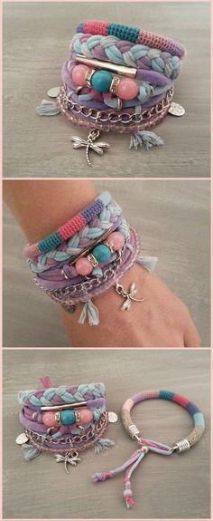 Layering Bracelets Pink and Turquoise, Gypsy Bracelet Set Bohemian Style, Hippie Jewelry, T-shirt Yarn Bracelet Dragonfly Charm Yarn Bracelets, Bohemian Bracelets, Layered Bracelets, Bohemian Jewelry, Handmade Bracelets, Fashion Bracelets, Diy Jewelry, Beaded Jewelry, Bohemian Style