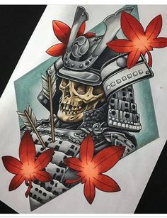 Fallen Samurai, Prismacolor pencil on Japanese Tattoos For Men, Japanese Tattoo Art, Japanese Tattoo Designs, Japanese Sleeve Tattoos, Japanese Art, Japanese Prints, Body Art Tattoos, Tattoo Drawings, Skull Tattoos