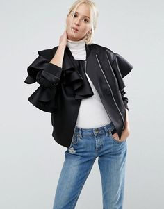 What to Wear to a Holiday Party or Event: ruffle bomber