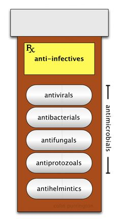 "Different types of anti-infective drugs. This image would look great slapped onto a wall in a waiting room or examination room.  Docs and nurses could point at it when describing treatment options.  Please not that the word ""antibiotic"" is absent.  That absence makes it clearer.  http://colinpurrington.com/2013/evidence-based-antibiotic-usage/"