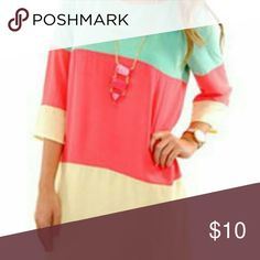 3/4 Sleeve Keyhole Shift Dress orange/teal Lightweight; colorful; plus-sized; contrasting orange, yellow and teal colors choies Dresses
