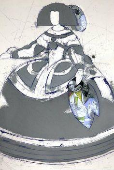 """Manolo Valdés Grabado al Aguafuerte y Collage """"Mariana I"""" 2008 105 x 71.5 cm Tirada de 50 ejemplares Numerado y firmado a mano Precio: 5.900 €"""