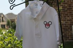 Mickey Mouse inspired golf shirt boys appliqué embroidery Vacation Cruise ears on collared church polo style top 2t 3t 4t 5t 6 8 10 12 14 mo by BirdieJamesEandS on Etsy https://www.etsy.com/listing/190817120/mickey-mouse-inspired-golf-shirt-boys