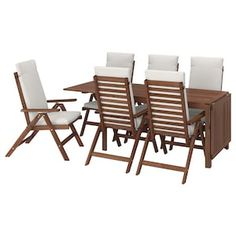 ÄPPLARÖ Table + 6 reclining chairs, outdoor – brown stained, Frösön/Duvholmen beige – IKEA – Keep up with the times. Ikea Friheten, Table Furniture, Outdoor Furniture Sets, Wood Supply, Table Extensible, Drop Leaf Table, Table Sizes, Parasol, Seat Pads