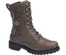 Harley-Davidson Footwear's Balsa short lace-up boot in stone full-grain leather.