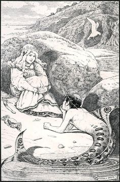 The Little Merman swam to the shore, and, creeping up the strand, lay on the yellow sands at her feet. Mermaid Illustration, Vintage Illustration Art, Black And White Illustration, Creative Illustration, Brothers Grimm Fairy Tales, Tarot, Mermaid Pictures, Mermaid Tale, Vintage Mermaid