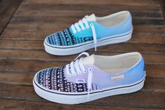 Custom Hand Painted Pastel Tribal Vans Authentic by BStreetShoes
