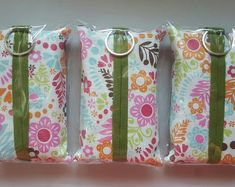 SALE! Set of 3 Travel Tissue Holder - Tissue Holder - Fabric Tissue Case - Flower Print. Does come with tissues.